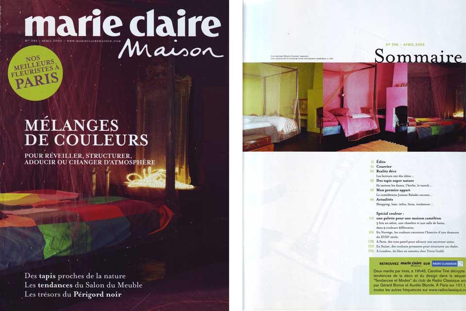 projet couleurs de val rie barkowski marie claire maison 2005. Black Bedroom Furniture Sets. Home Design Ideas