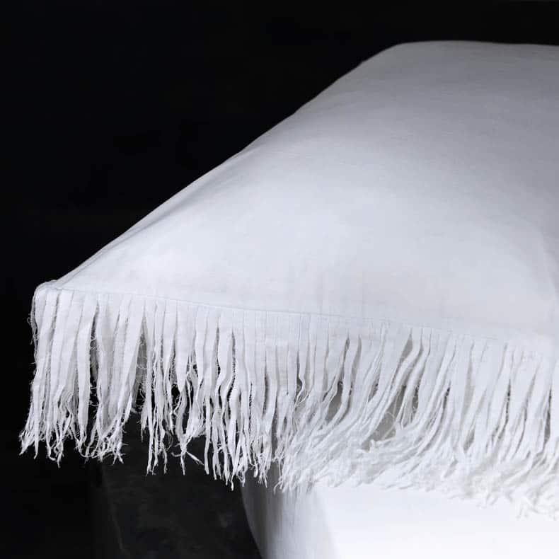 janis linge de lit franges en coton blanc