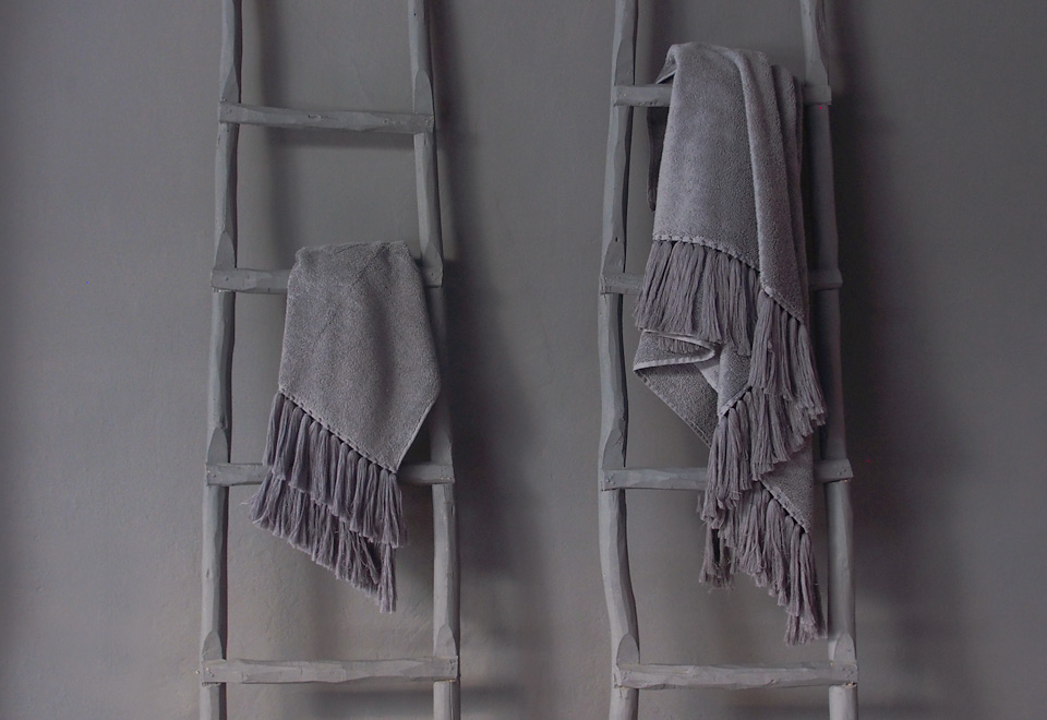dark grey bath towels with long handmade tassels V.Barkowski linen