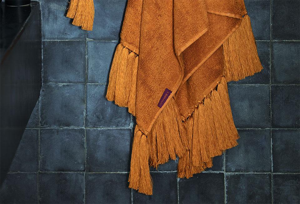 refined bath linen long handmade fringes vbarkowski