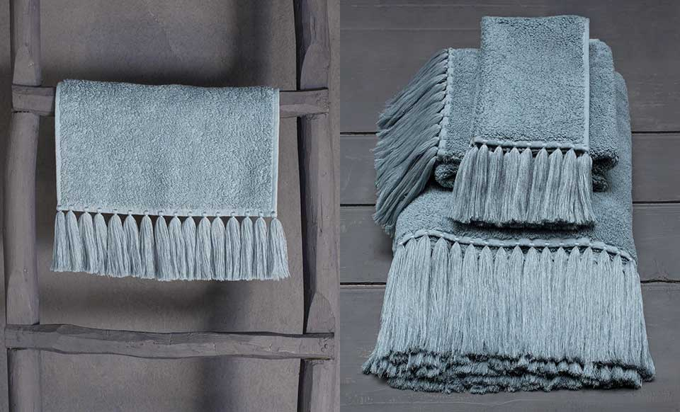 Pollux high end bath linen in pale blue  water color terry