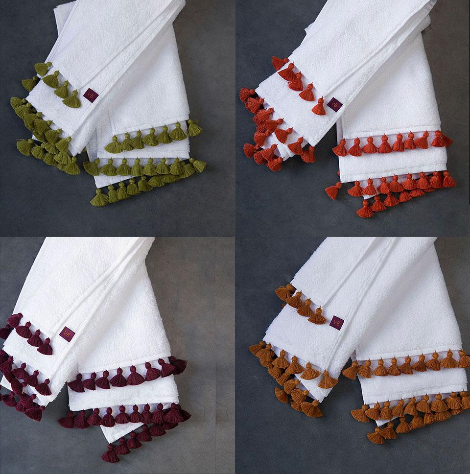 pompons broderies main serviettes éponge de qualité