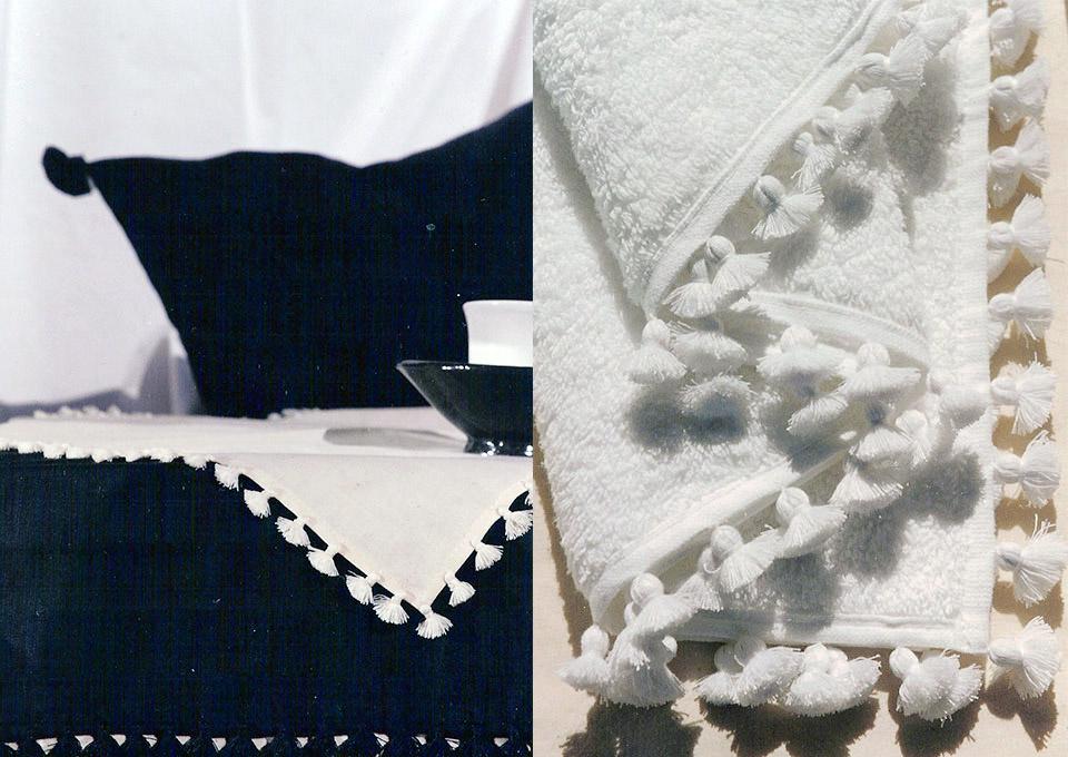 pompons blanc linge bain fait main