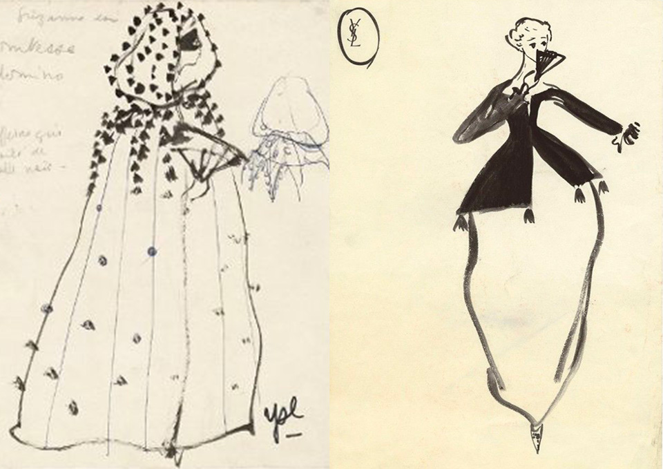Yves Saint Laurent theatrical costumes, scene collaboration.