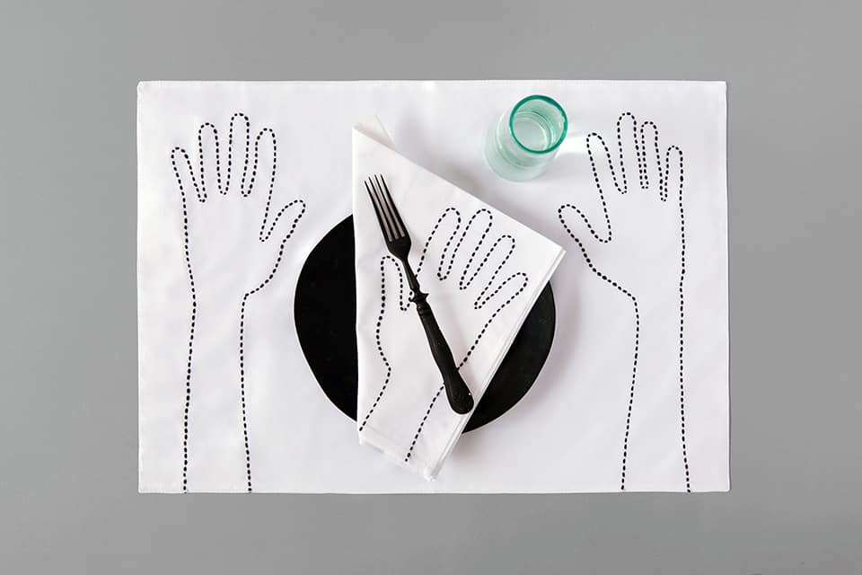 Timeless hand embroidered placemat and napkin V.Barkowski brand