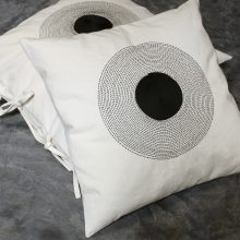 black and white cushions hand embroidery home textiles