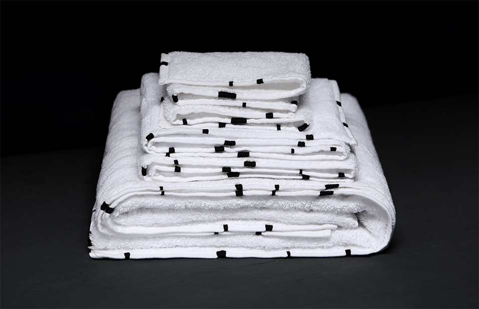 White hand-embroidered high end bath towel collection by V.Barkowski