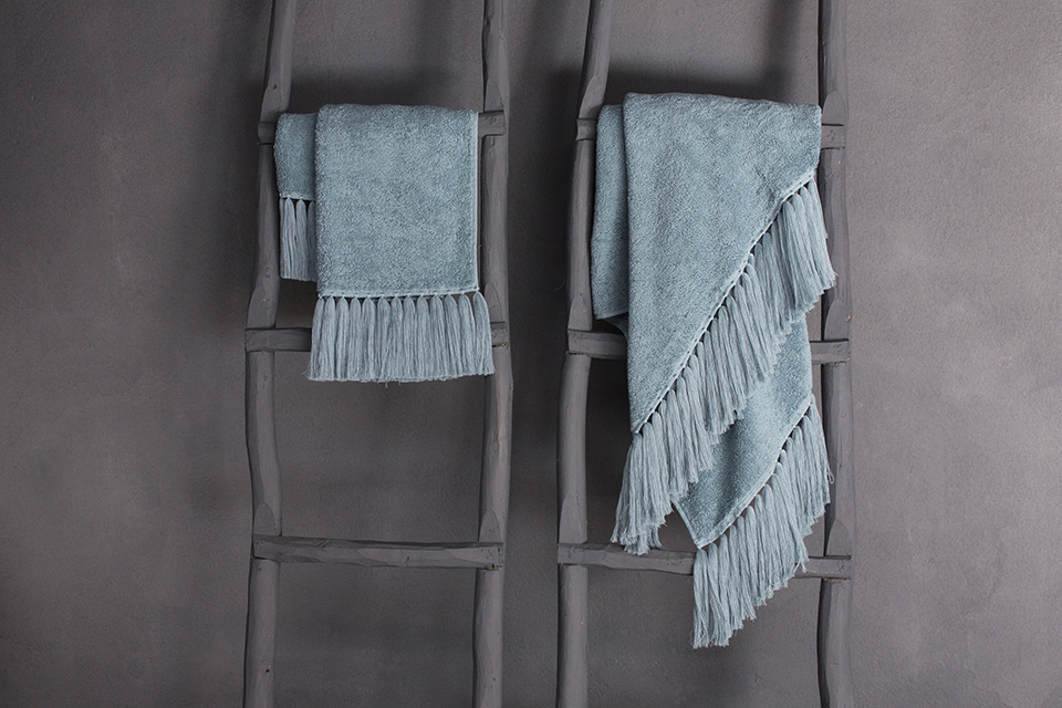 Terry towel collection in water color light blue