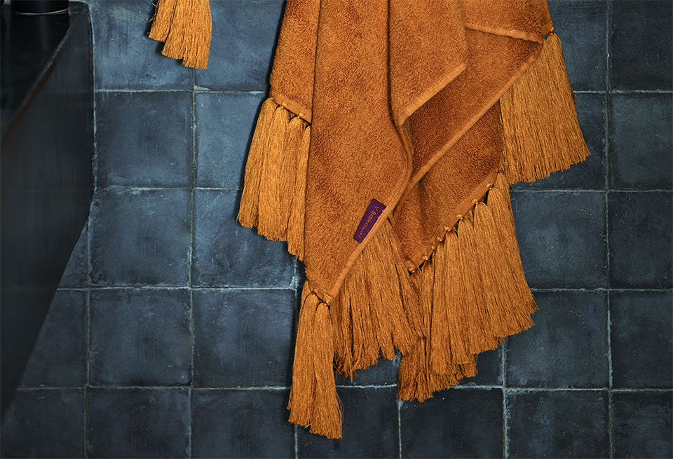 amber bath linen long handmade fringes